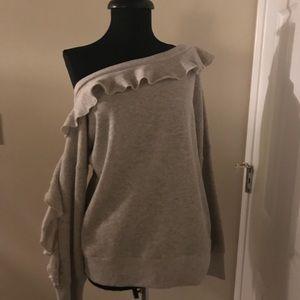 Lou & Grey lightweight sweatshirt with ruffles.